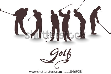 Vector set of silhouettes of golfers - stock vector