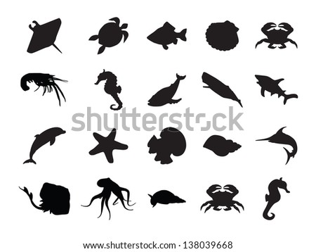 Vector set of silhouettes of 20 marine animals on a white background - stock vector