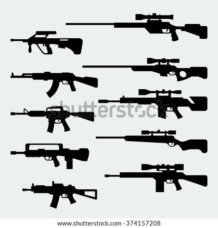 Vector set of silhouettes of modern assault and sniper rifles - stock vector