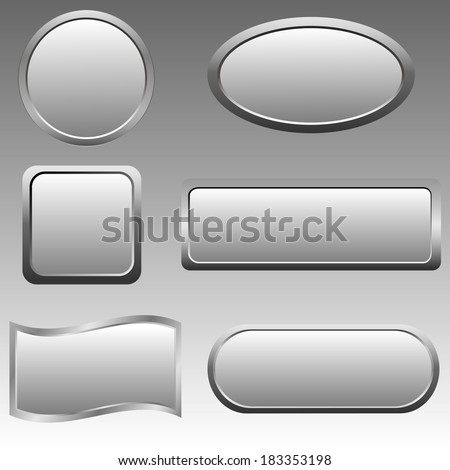 Vector set of silver buttons. Vector illustration. - stock vector