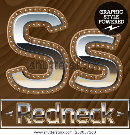 Vector set of silver country style font with wooden rivet border. Letter S - stock vector