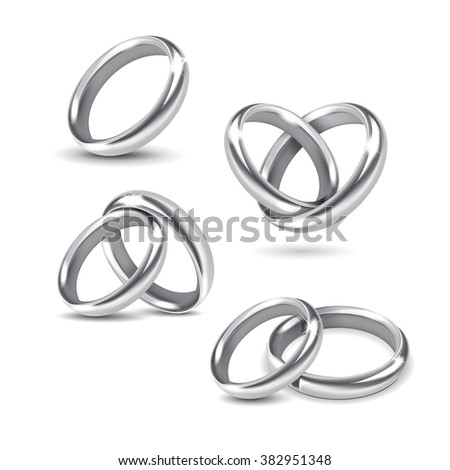 Vector Set of Silver Wedding Rings Isolated on White Background - stock vector