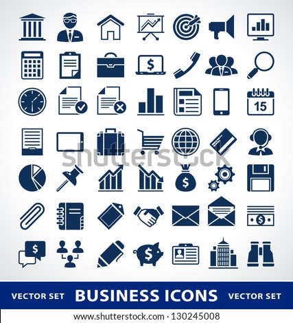 Vector set of simple business icons. - stock vector