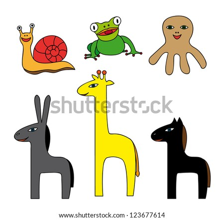 Vector Set of Simple Colorful Cartoon Animals - stock vector