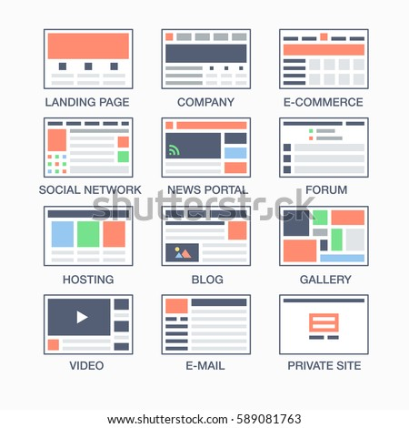 Vector set simple flat website templates em vetor stock 589081763 vector set of simple flat website templates icons 12 types of sites landing page ccuart Gallery