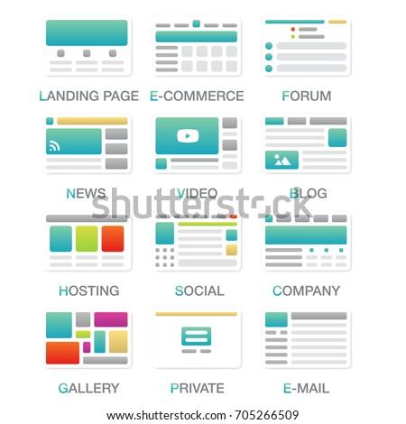 Vector Set Simple Flat Website Templates Stock-Vektorgrafik ...