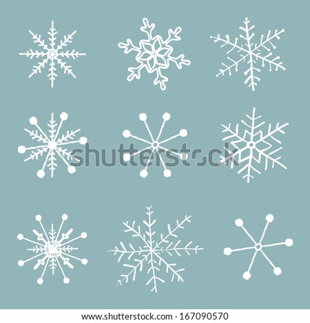 Vector set of simple hand drawn snowflakes. - stock vector