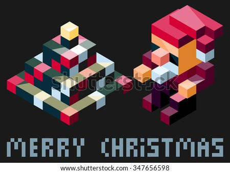 Vector set of simple minimalistic stylish christmas toys. Isometric items. - stock vector