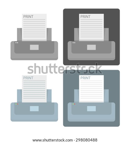 Vector set of simple printer icons in blue and gray colors  - stock vector
