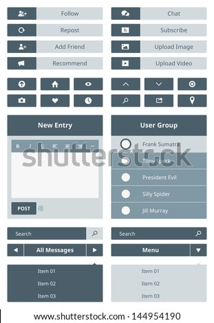 Vector set of simple user interface navigation elements and buttons for website in modern flat design. Isolated on gray background. - stock vector