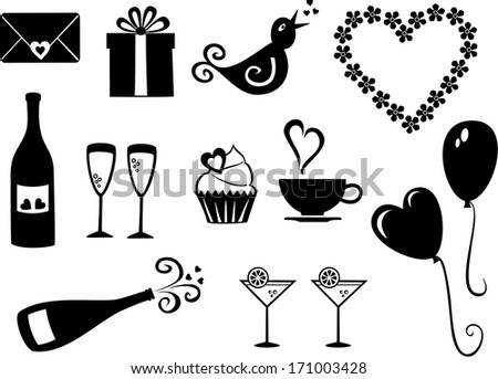 Vector set of simple, Valentine�´s day icons. - stock vector