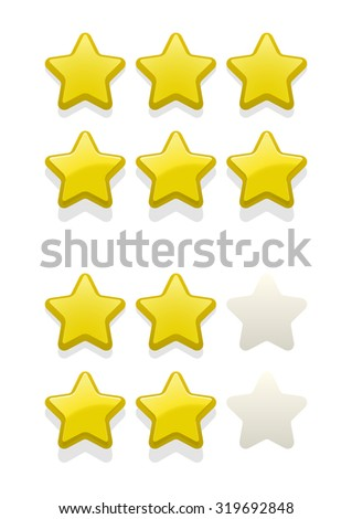 Vector set of simple yellow stars, design element for rank, rating, award  - stock vector