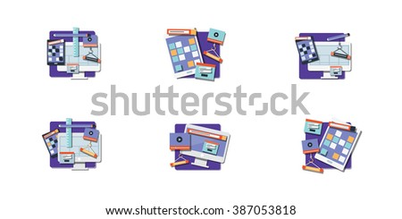 Vector set of sitemaps symbols for webpage. Web design and interface - vector icons - stock vector