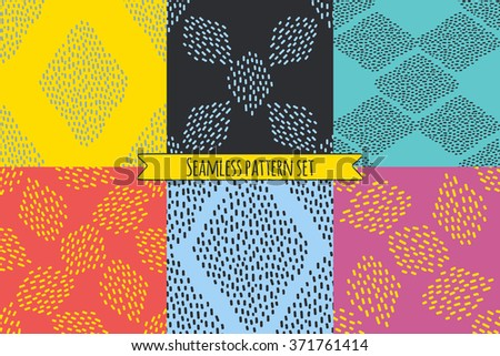 Vector set of six repeating designs in bright trendy colors. Colorful abstract minimalistic seamless patterns separated in layers for easy editing. One click for changing colors. - stock vector