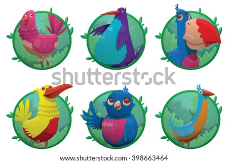Vector set of six round green frames. Cartoon fantasy tropical birds of different colors in the center of the frames. Set of frames with bright colored tropical birds. Cartoon tropical birds. Vector. - stock vector