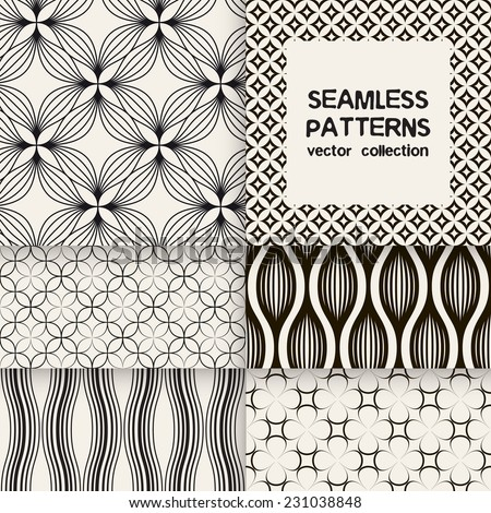 Vector set of six seamless patterns. Linear trellis, wavy and fine grid repeating backgrounds. Monochrome collection - stock vector