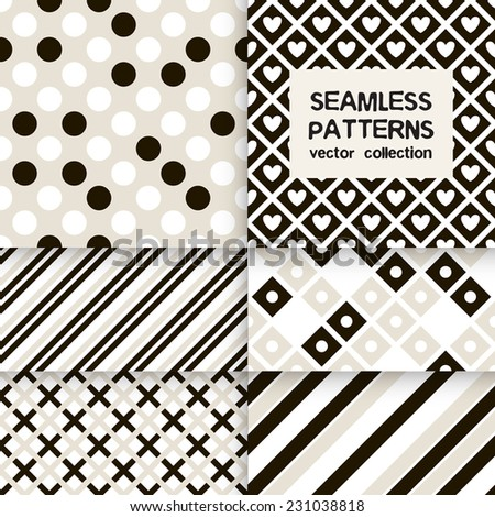 Vector set of six seamless patterns. Stylish collection of geometric patterns. Simple striped textures, backgrounds with rhombuses, squares, circles, hearts and crosses - stock vector