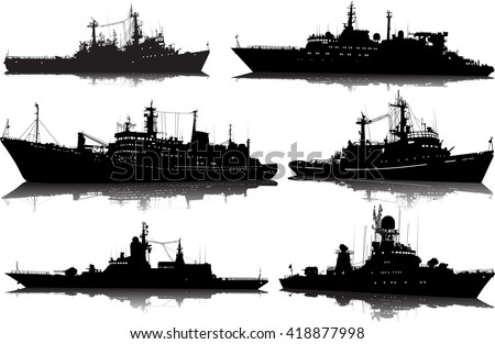Vector set of six silhouettes of the military ship on a white background