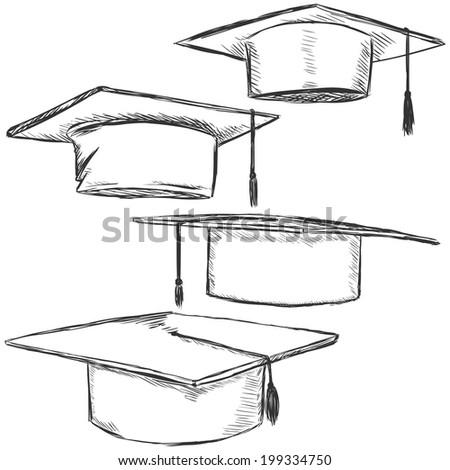 Vector Set of Sketch Academic Hats - stock vector