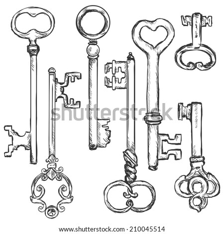Vector Set of Sketch Antique Keys. Types of keys - stock vector
