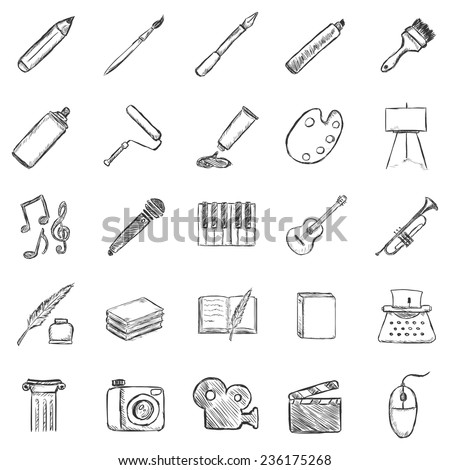 Vector Set of Sketch Art Icons - stock vector
