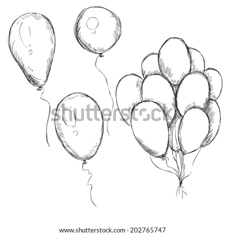 vector set of sketch balloons