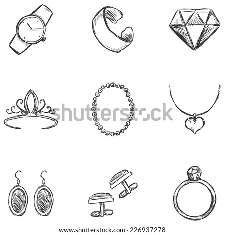Vector Set of  Sketch Jewelry Icons. - stock vector