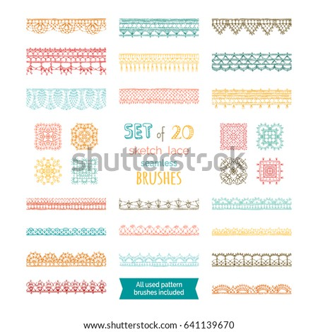 Vector Set 20 Sketch Lace Seamless Stock Vector 641139670 Shutterstock