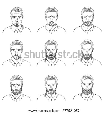 Vector Set Sketch Mens Faces Beards Stock Vector 277521059