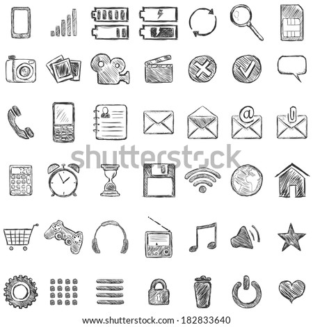 Vector Set of Sketch Mobile Icons - stock vector