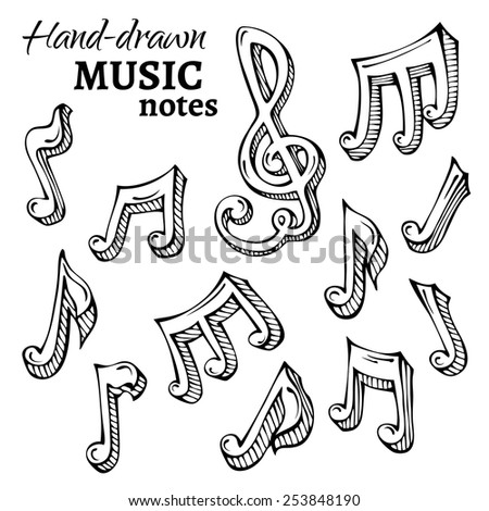 Vector set of sketch music icons. Black hand-drawn music notes isolated on white background.  - stock vector