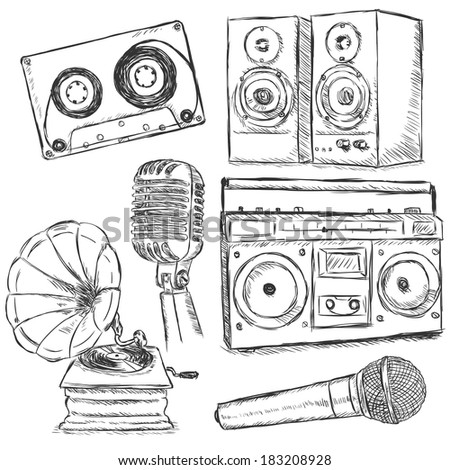 Vector Set of Sketch Music Object - stock vector