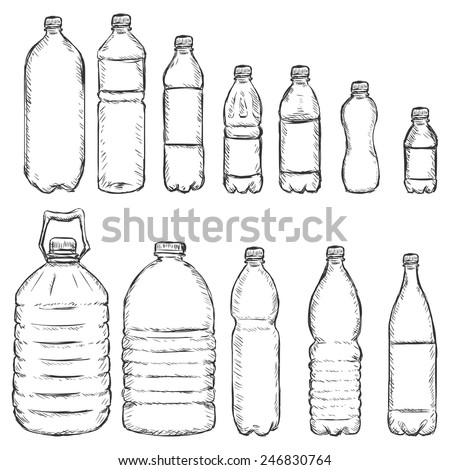 Vector Set of Sketch Plastic Bottles - stock vector