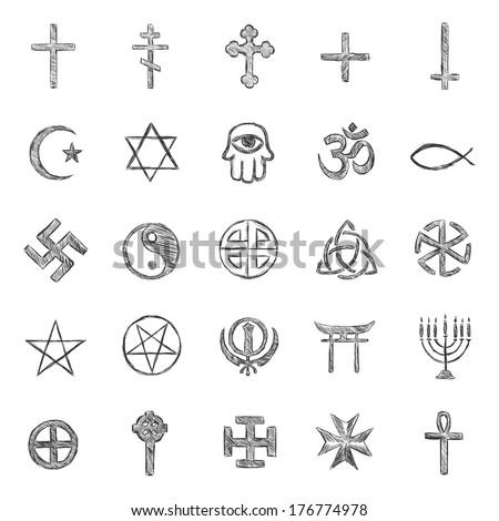 vector set of sketch religious symbols - stock vector