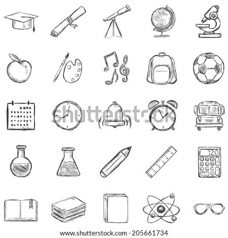 Vector Set of 25 Sketch School Icons - stock vector