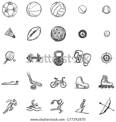 Vector Set of Sketch Sports Icons - stock vector