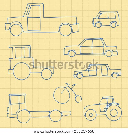 Vector Set of Sketch Transportation Icons - stock vector