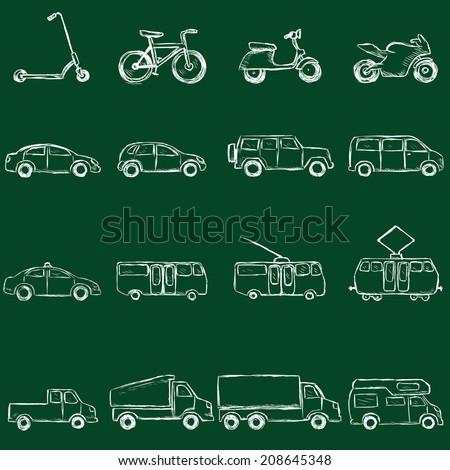 Vector Set of Sketch Transportation Icons. Chalk on a Blackboard. - stock vector