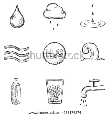 Vector Set of Sketch Water Icons - stock vector