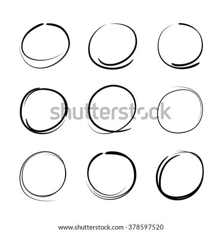 vector set of sketched circles - stock vector