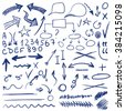 VECTOR set of sketched icons. Elements for text correction or planning. Blue color  - stock vector