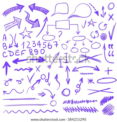 VECTOR set of sketched icons. Elements for text correction or planning. Purple  - stock vector