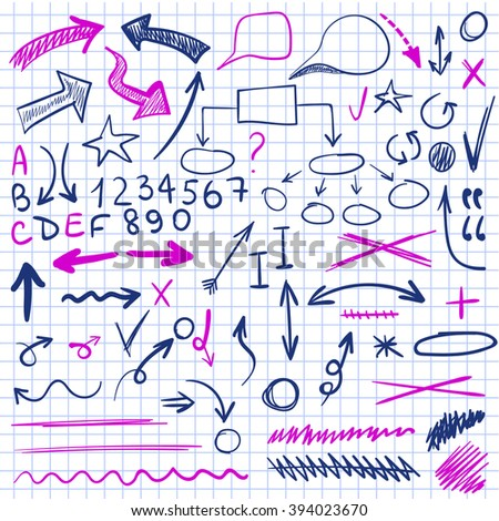VECTOR set of sketched icons on notebook paper. Elements for text correction or planning in blue and pink colors.  - stock vector