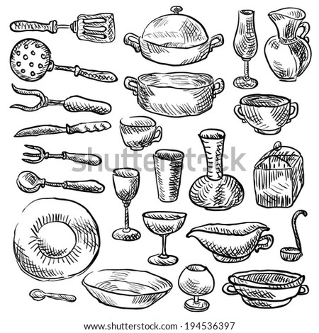 Vector set of sketches of various cookware style doodle.