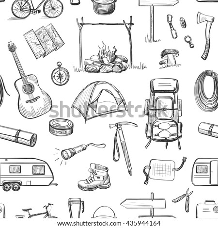 Vector set of sketches on the theme of hiking , camping . Accessories , tools , clothes , utensils .