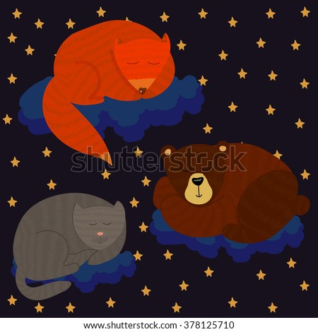 Vector set of sleepy cubs on blue clouds in a night sky. Children theme, design element, places decoration, illustration for any kind of purpose.
