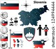 Vector set of Slovenia country shape with flags, buttons and icons isolated on white background - stock photo