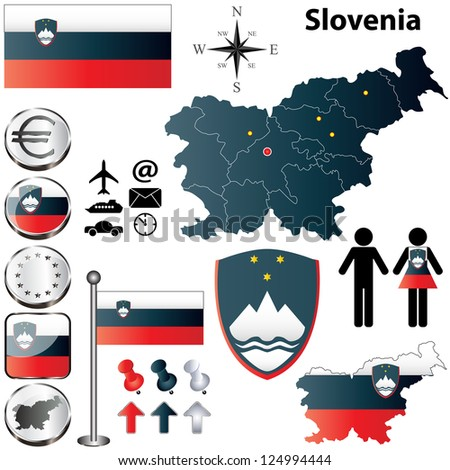 Vector set of Slovenia country shape with flags, buttons and icons isolated on white background - stock vector