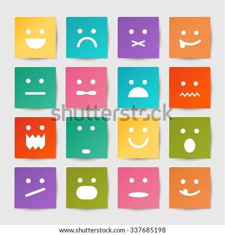 Vector set of smileys stickers. EPS10  - stock vector