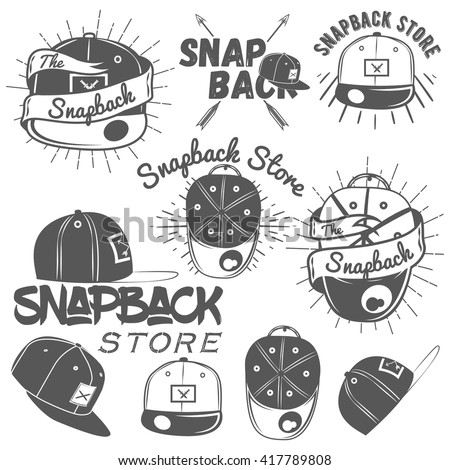Vector set of snapback store labels in vintage style. Design elements, icons, logo, emblems and badges isolated on white background. Flat cap hats concept illustration.